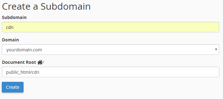 create cdn subdomain cpanel