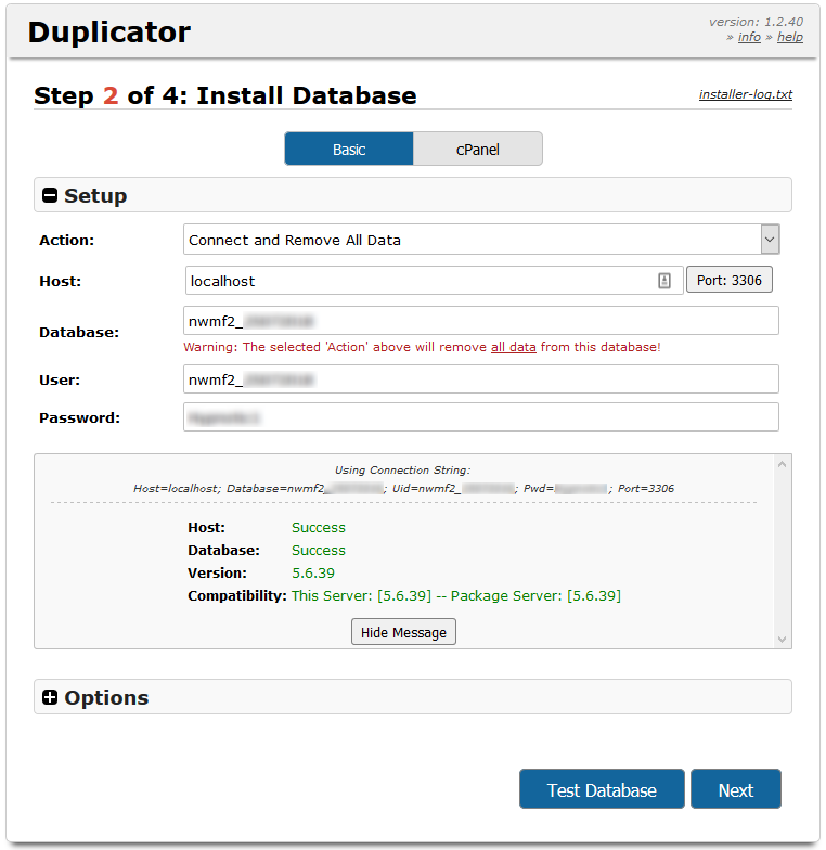 Duplicator Credentials